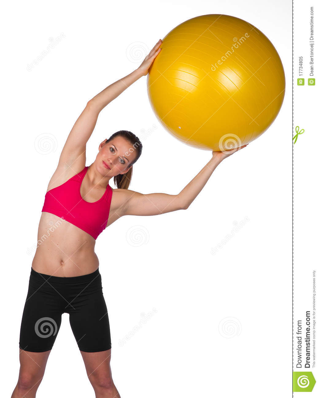 Woman Pilates Chair Exercises Fitness Stock Photo: Woman Exercise With Pilates Ball Stock Image