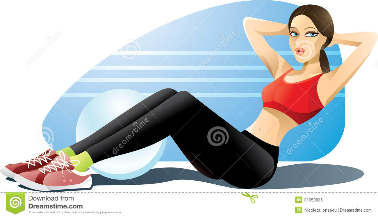 Royalty Free Stock Photo Woman Exercising Abs Vector Illustration Girl Doing Her Abdominal Exercises Gym Outfit Ai Vector File Included Image31650835