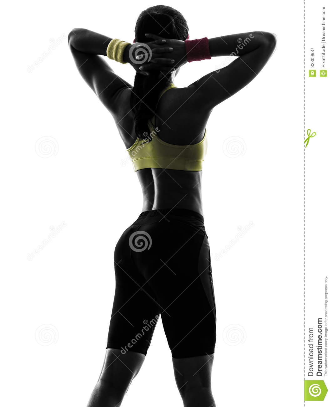 Woman exercising fitness arms behind head silhouette rear view