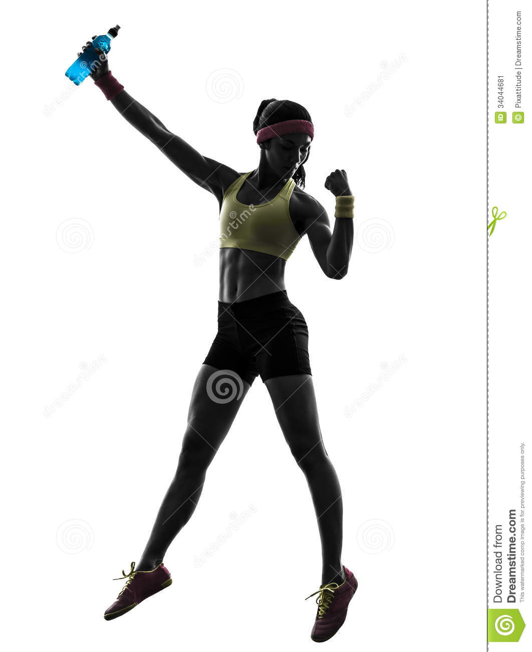 woman exercising fitness holding energy drink silhouette stock image
