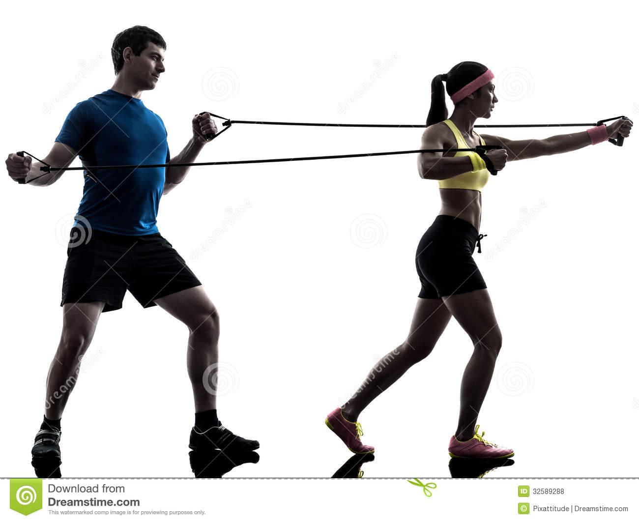 Woman Exercising Fitness Resistance Rubber Band With Man Coach Royalty ...