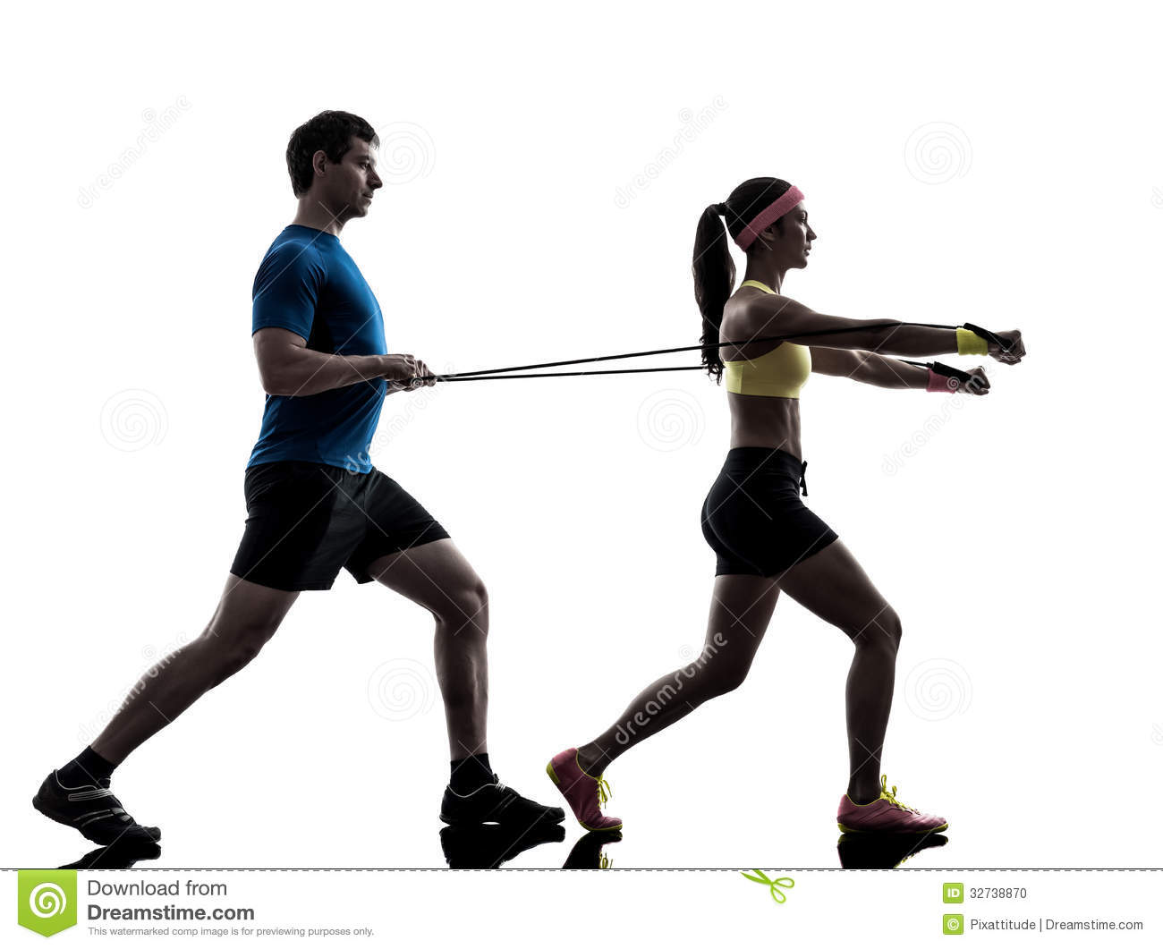 One women exercising resistance rubber band fitness workout with men ...