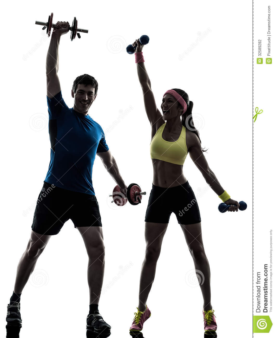 One women exercising fitness workout with men coach in silhouette on ...