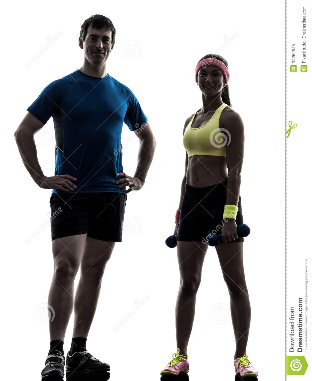 Man Workout: Woman Exercising Fitness Workout With Man Coach Posing