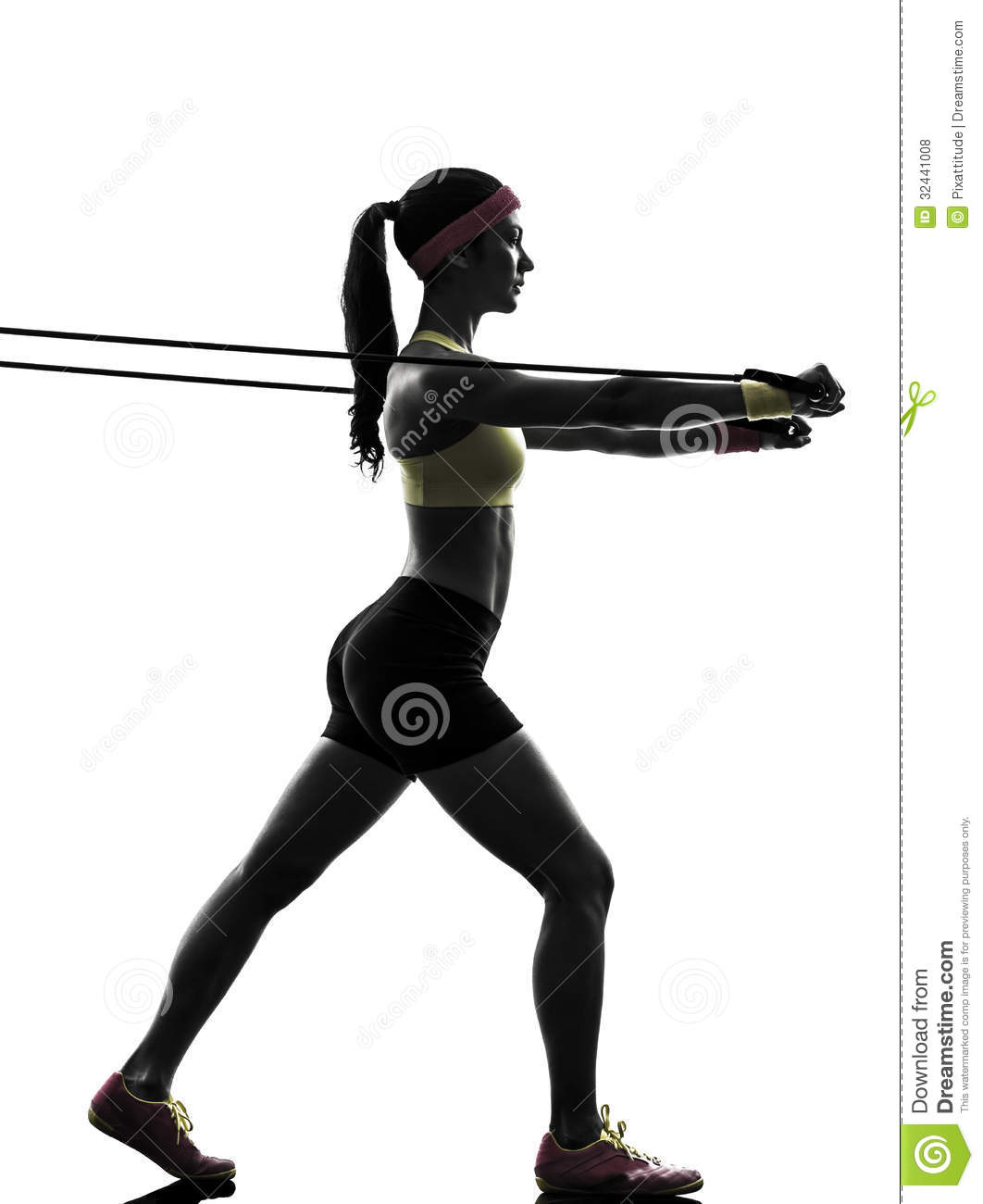 Woman Exercising Fitness Workout Resistance Bands Silhouette ...