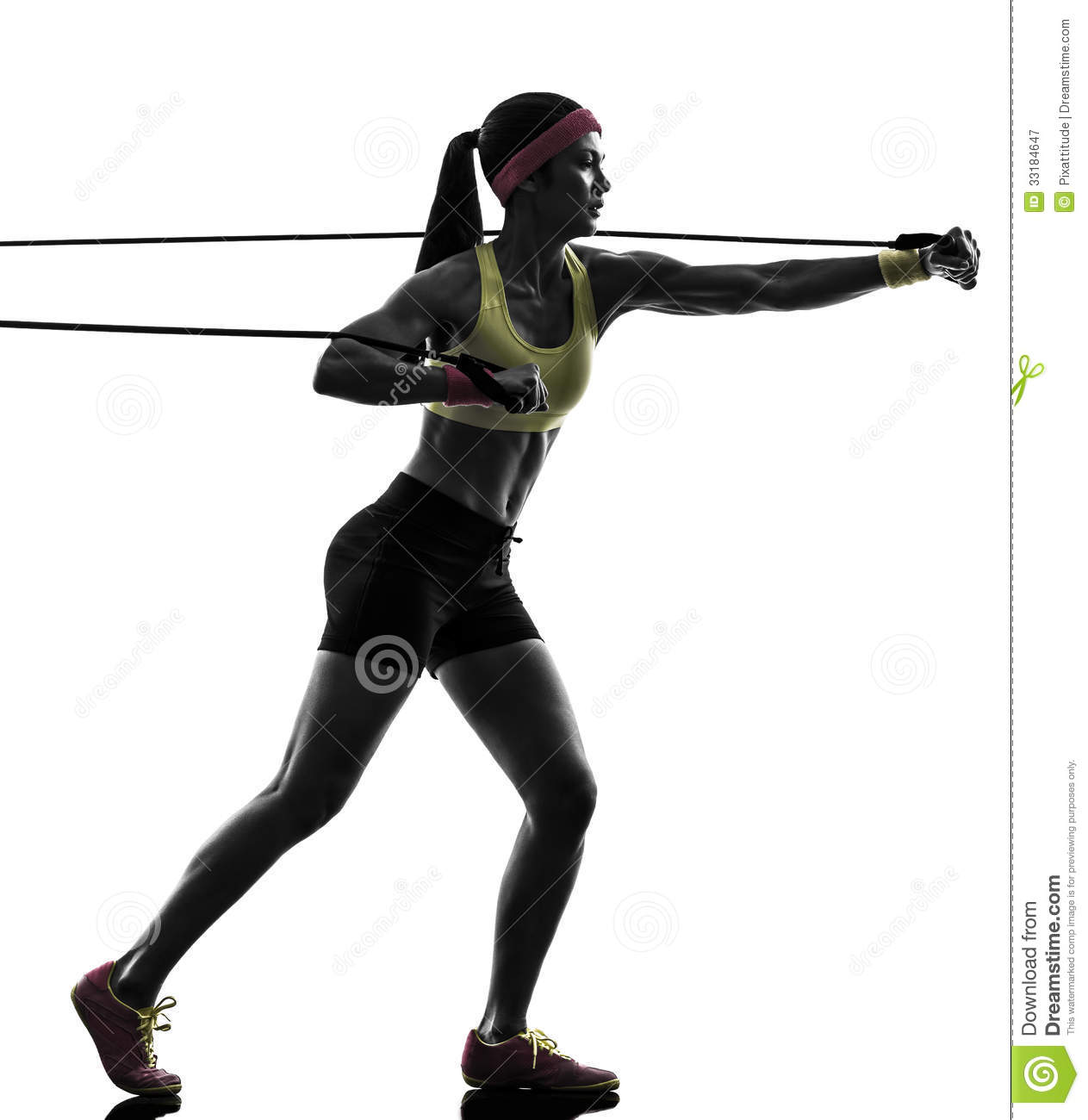 Woman 2013 Bands: Woman Exercising Fitness Workout Resistance Bands