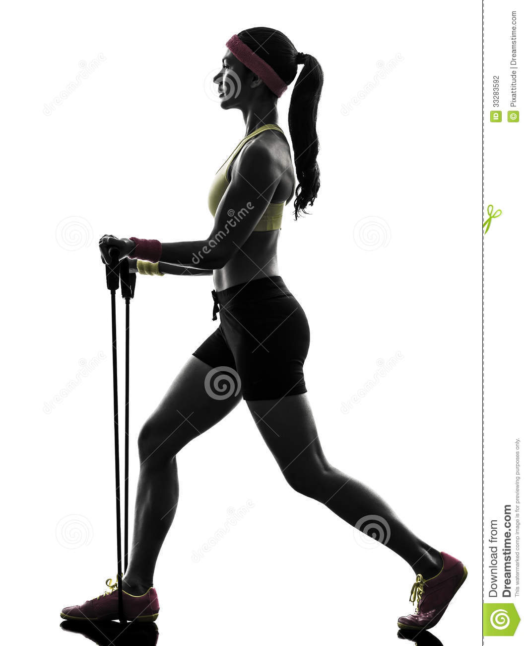 Workout Photography: Woman Exercising Fitness Workout Resistance Bands