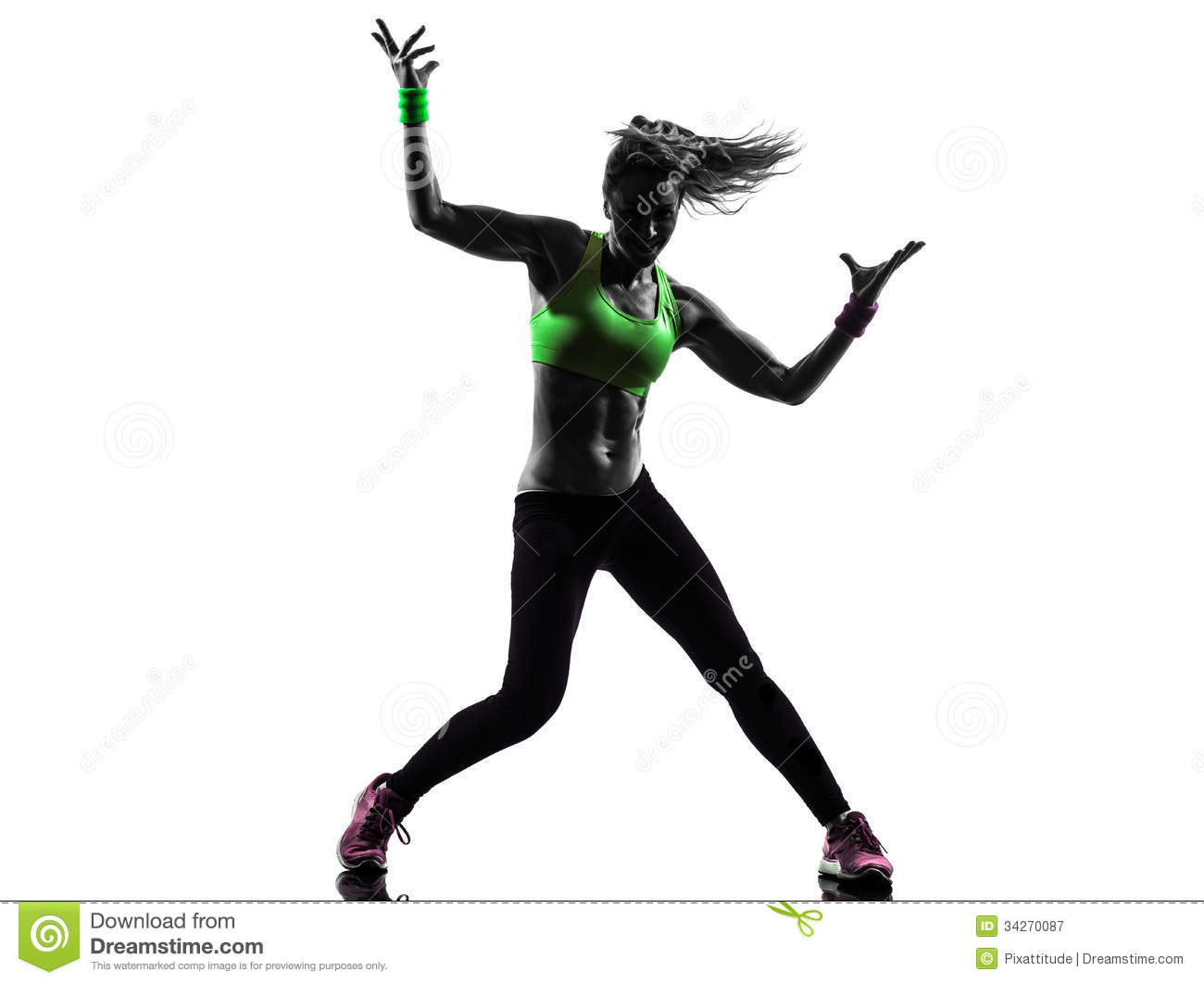 Stock Photography  Woman exercising fitness zumba dancing silhouetteZumba Silhouette