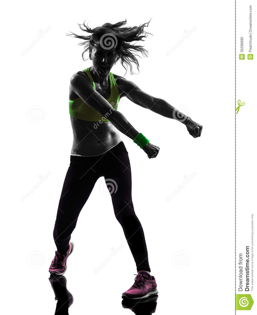 exercising fitness zumba dancing in silhouette on white backgroundZumba Silhouette