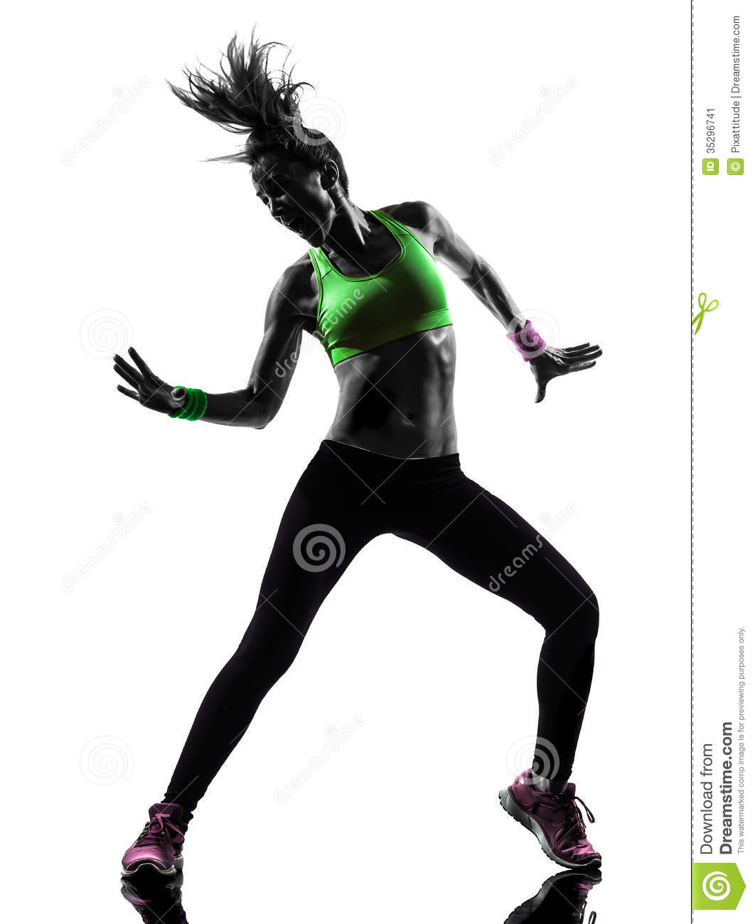 Woman Exercising Fitness Zumba Dancing Silhouette Stock Image - Image ...