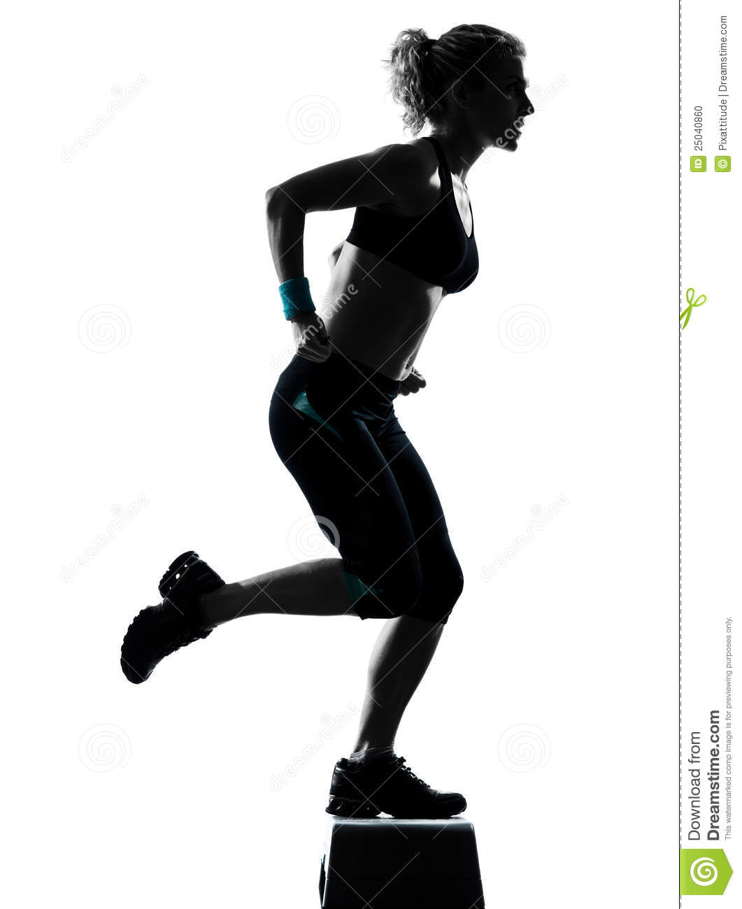Woman Exercising Step Aerobics Stock Photo - Image: 25040860