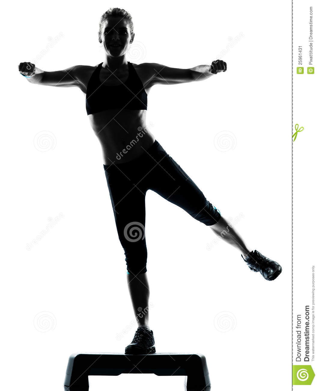 Woman Exercising Step Aerobics Stock Image - Image: 25961431