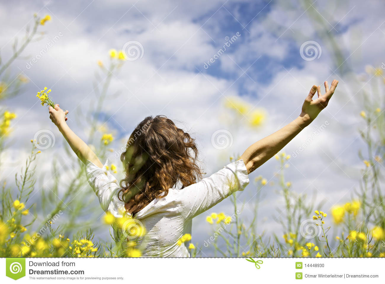 Download Woman Expressing Gratefulness Stock Photo - Image of colorful, nature: 14448930