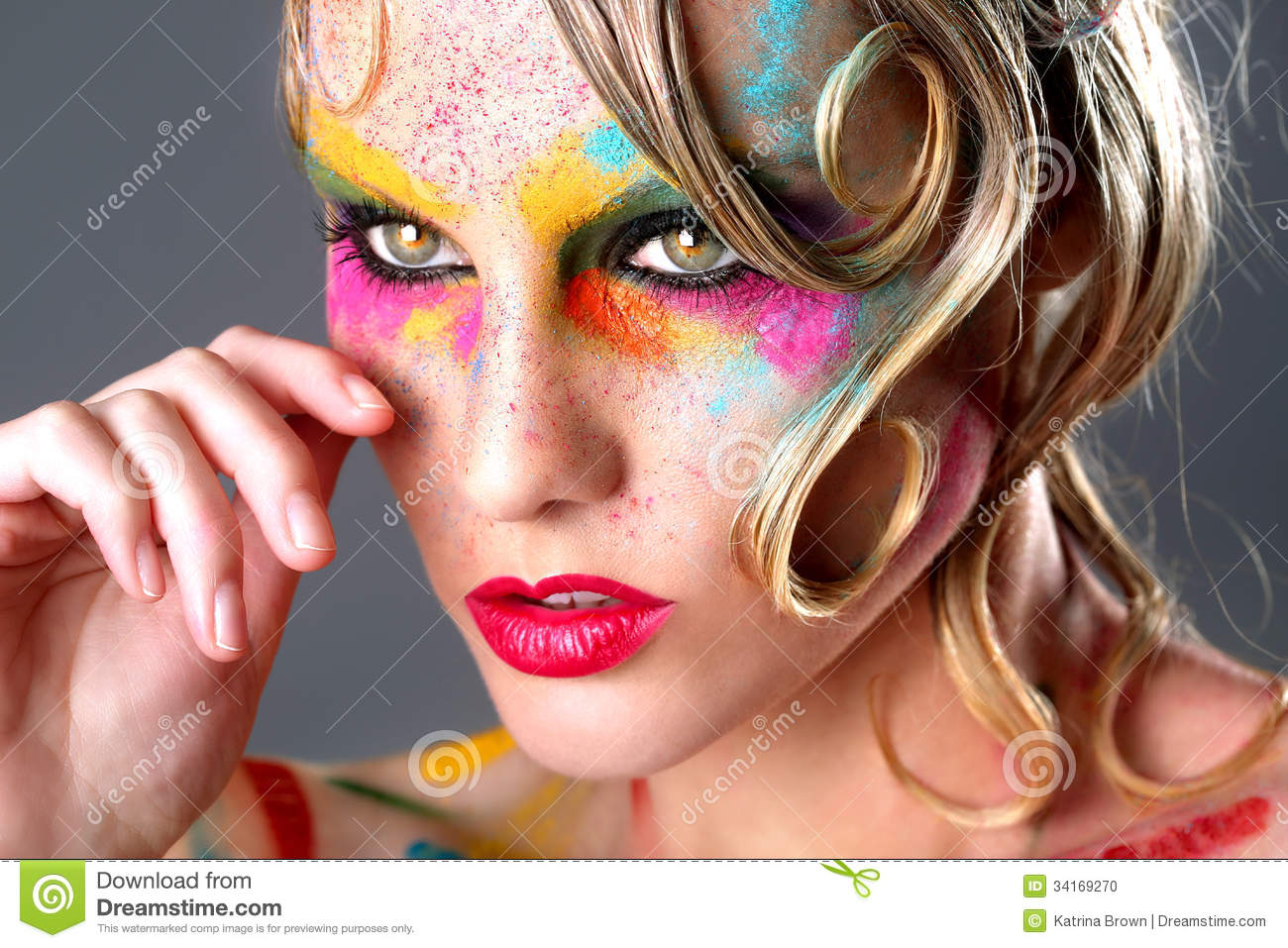 Woman With Extreme Makeup Design With Colorful Powder ...