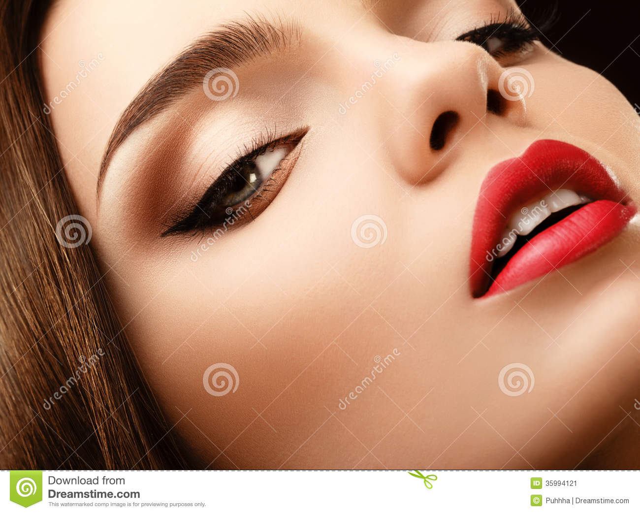 Woman Eye With Beautiful Makeup Red Lips High Quality Image Stock