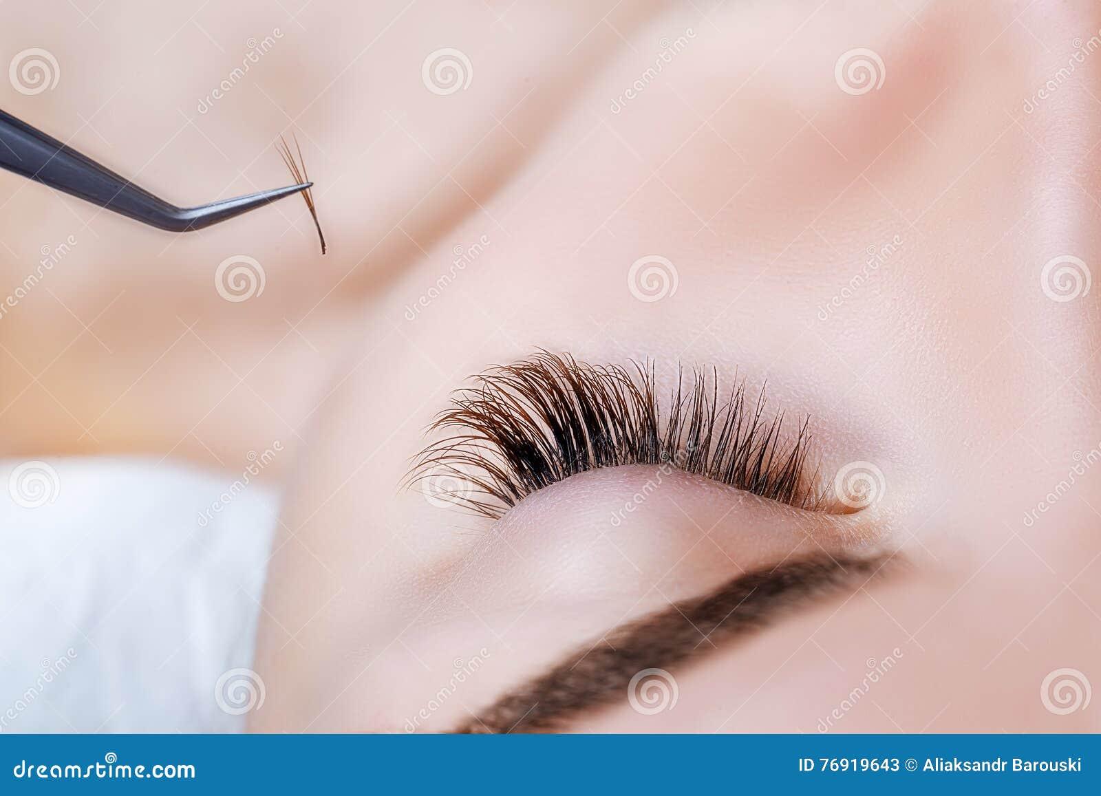 Woman Eye With Long Eyelashes Eyelash Extension Lashes Close Up