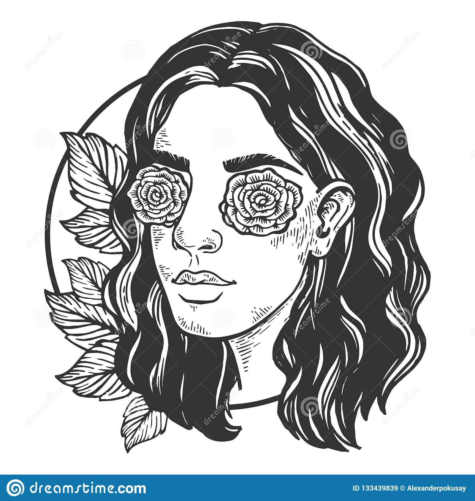 Woman With Eye Roses Engraving Vector Stock Vector