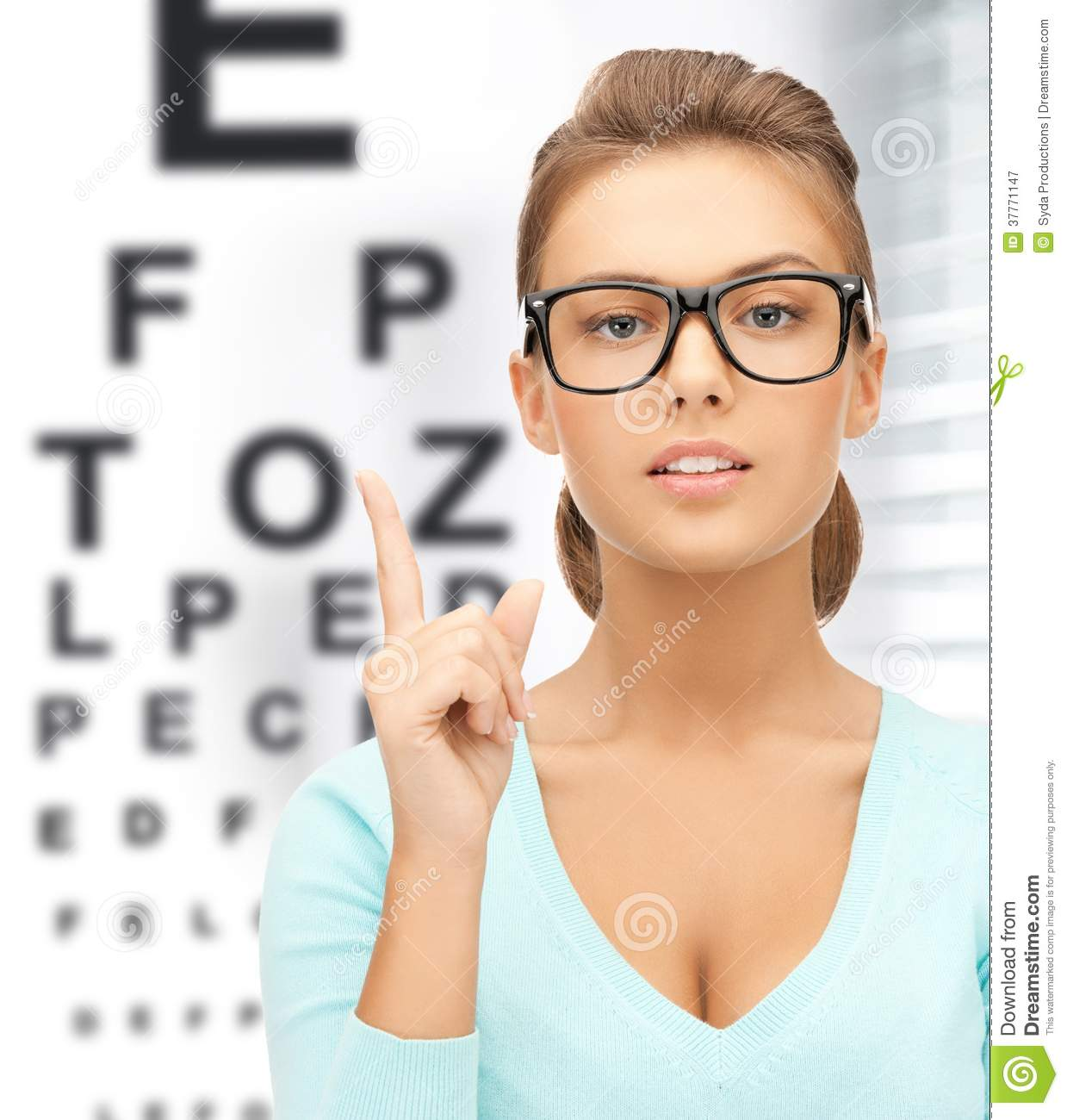Naked woman eye chart
