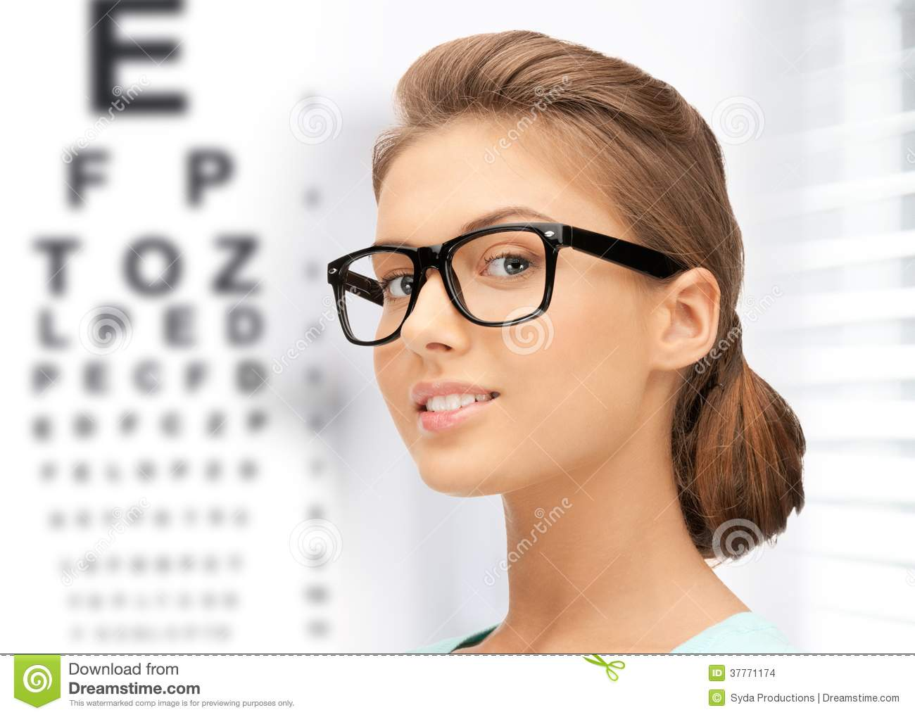 Woman In Eyeglasses With Eye Chart Stock Images