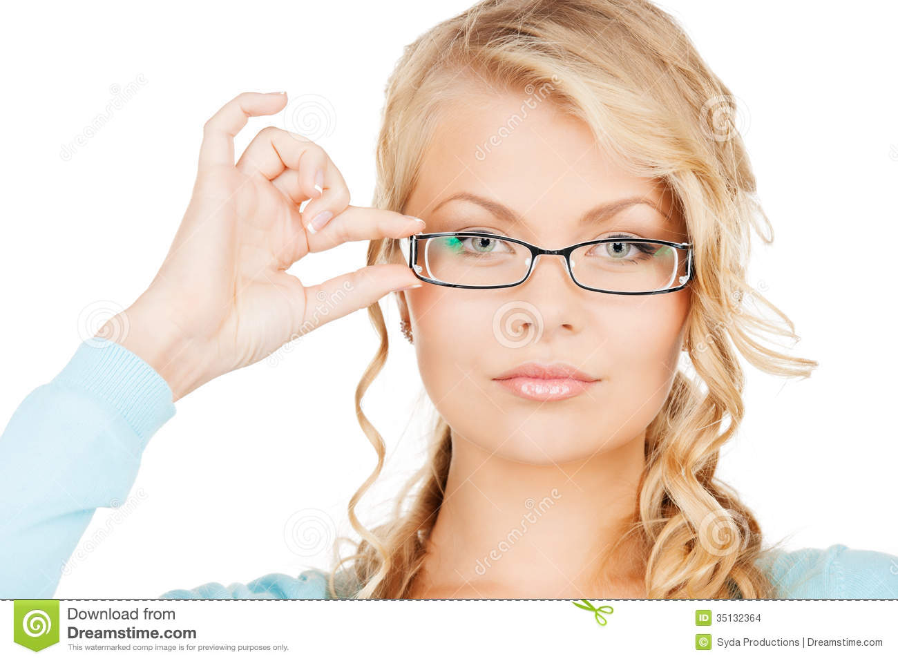 Woman With Eyeglasses Stock Photo. Image Of Exam, Hands
