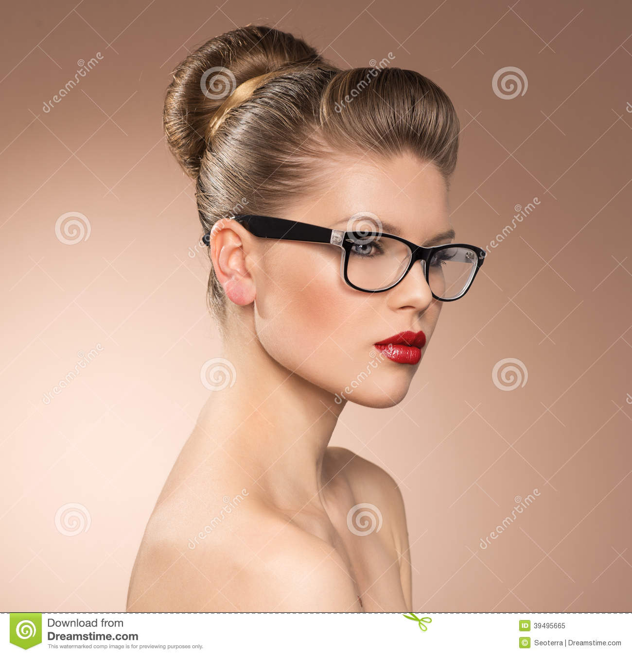 4afe4f30da Strict vintage style lady with red lipstick wearing spectacles. Eyewear  glasses woman closeup portrait.