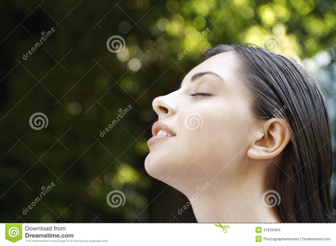 Woman With Eyes Closed In Park Stock Images - Image: 31833434