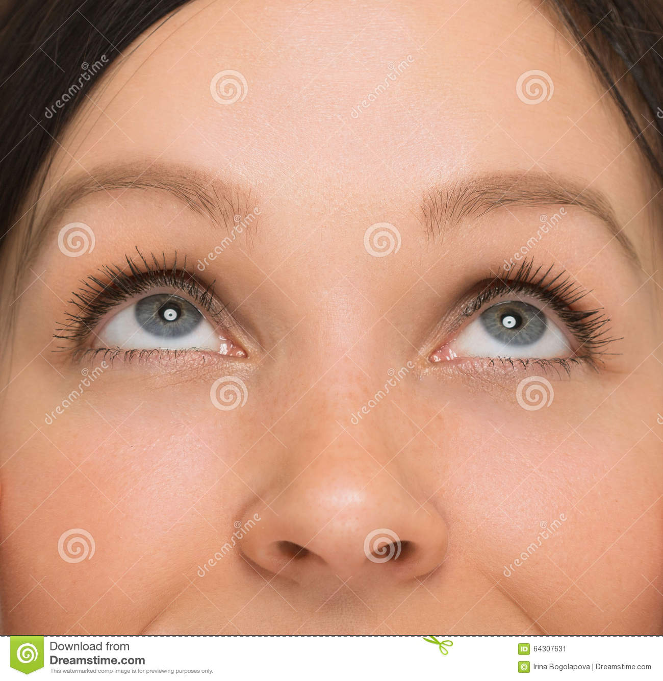 Woman Eyes Looking Up. Close Up View. Stock Image - Image ...