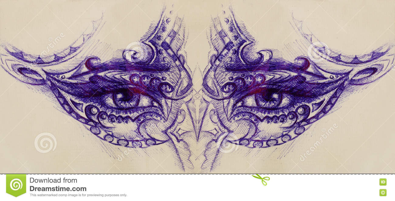 Woman Eyes With Ornament Pen Drawing Eye Contact Stock