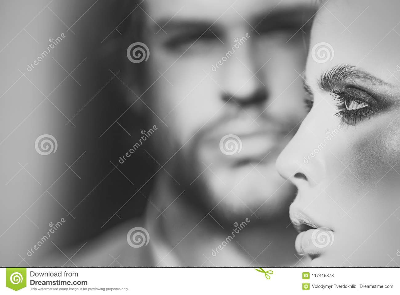 Woman face beauty. Woman face profile with blurred man on background