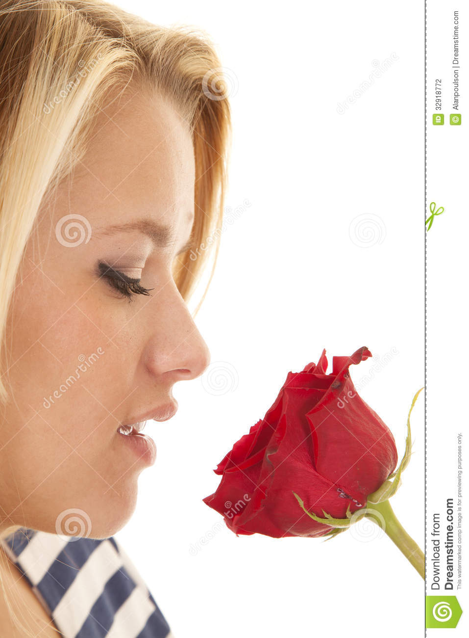 Woman Face Eyes Closed Rose Stock Photo - Image of cute ...