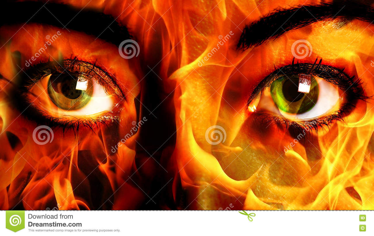 Woman Face fire Close up