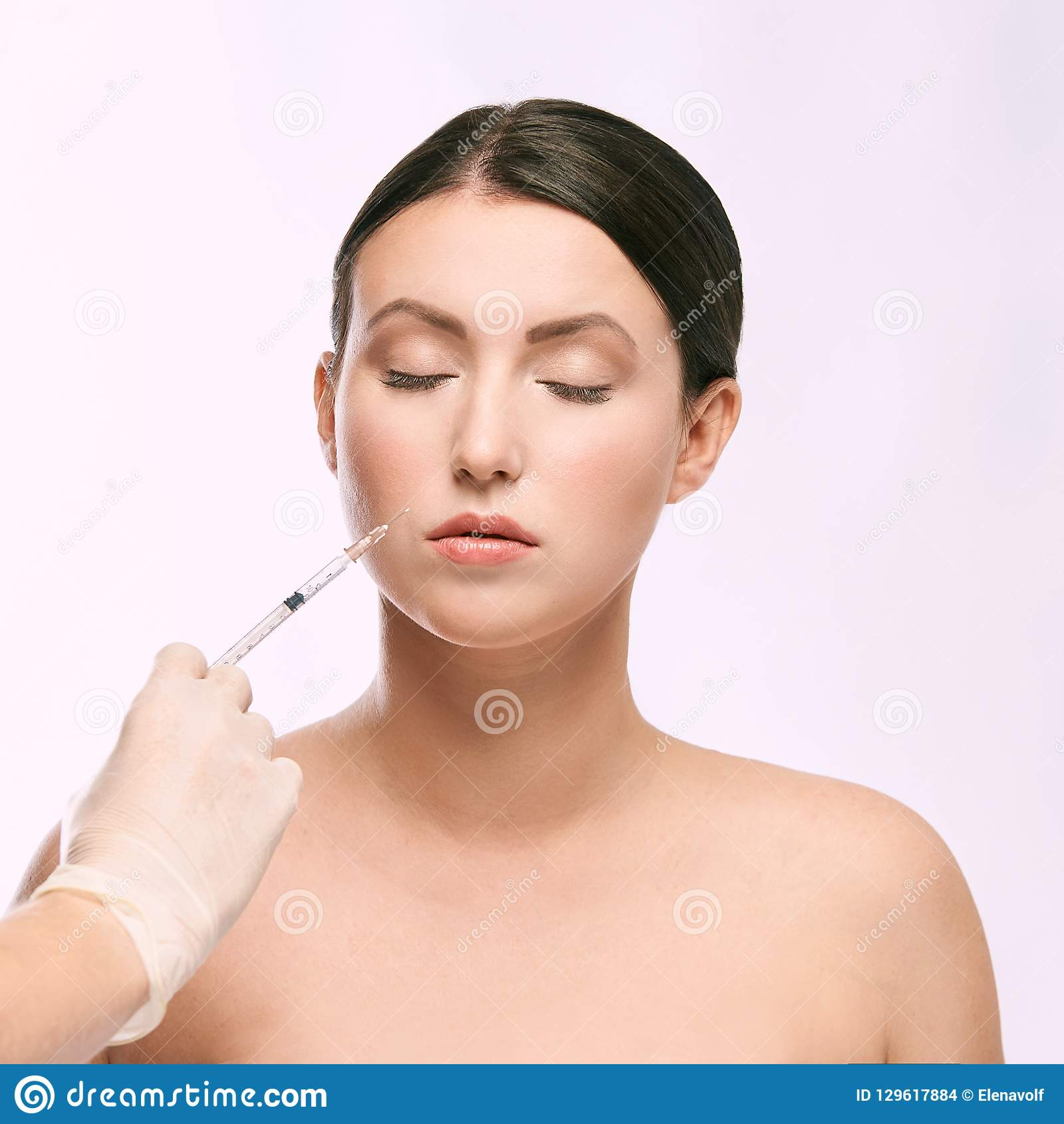 Woman Face Injection  Salon Cosmetology Procedure  Skin