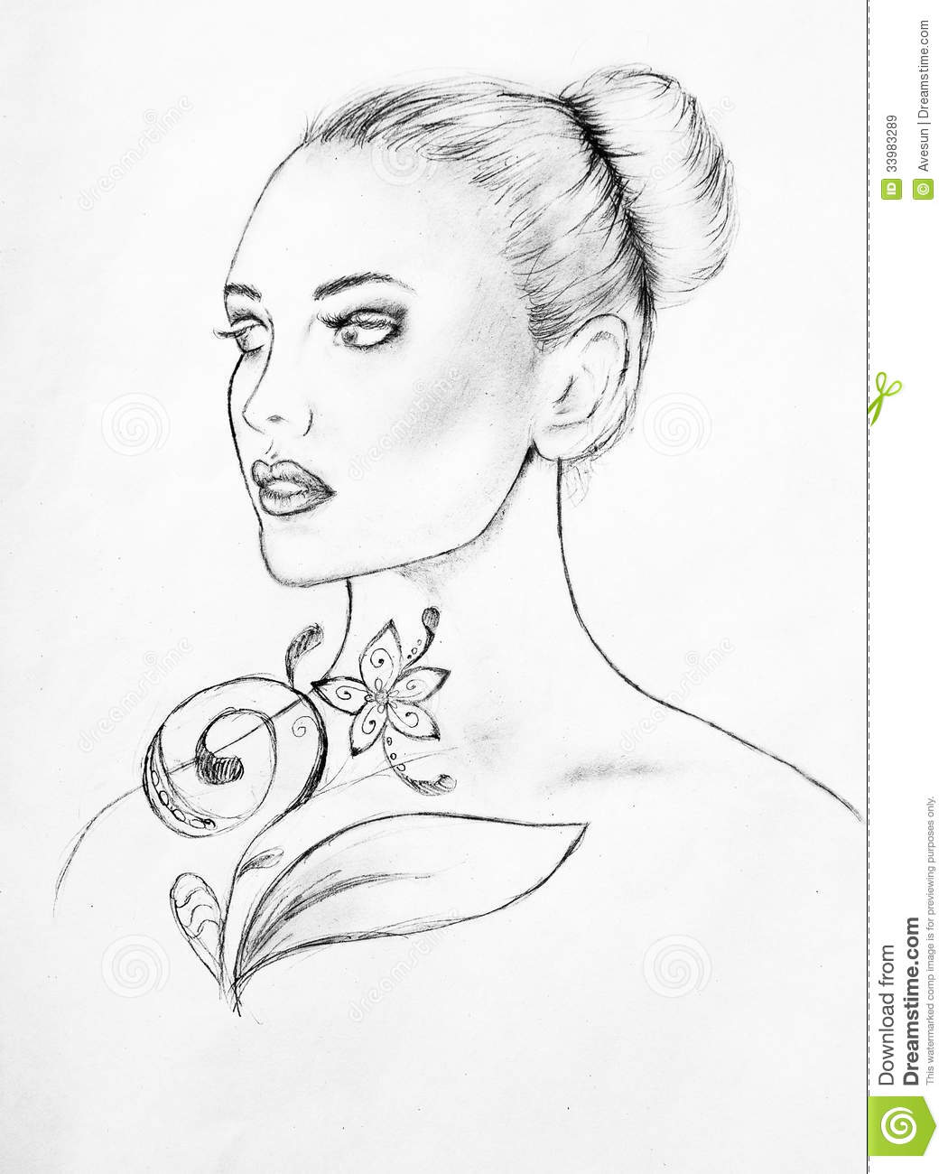 Woman S Face Line Drawing : Woman face lineart sketch stock illustration image of