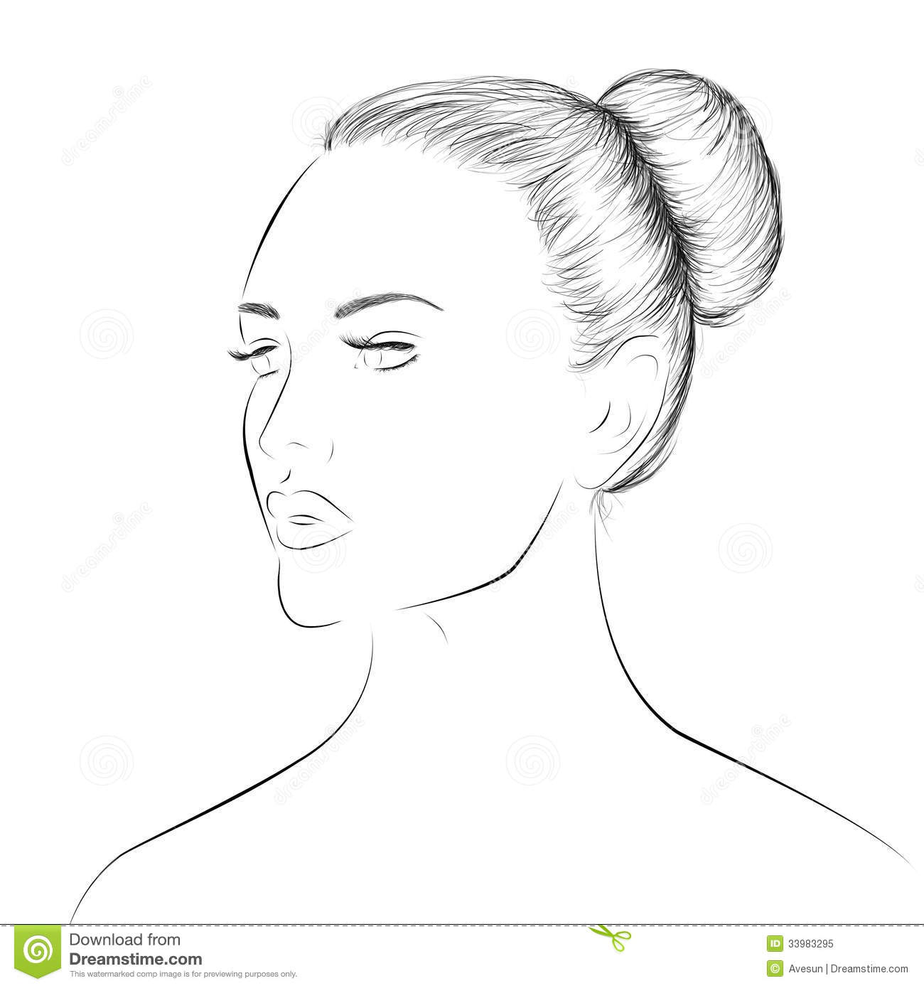 Woman Face Lineart Sketch Stock Illustration Illustration