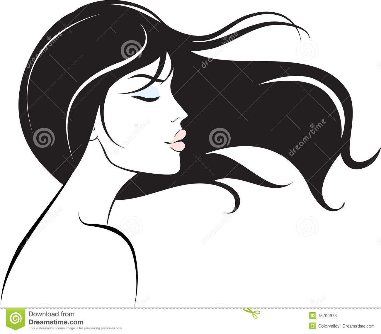 Line Art Hair : Woman face with long black hair stock vector