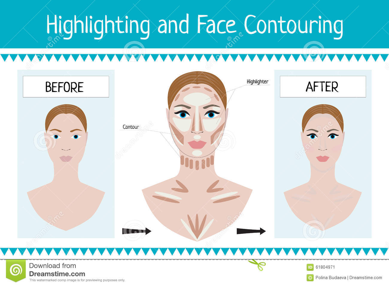 woman face before and after makeup vector stock vector
