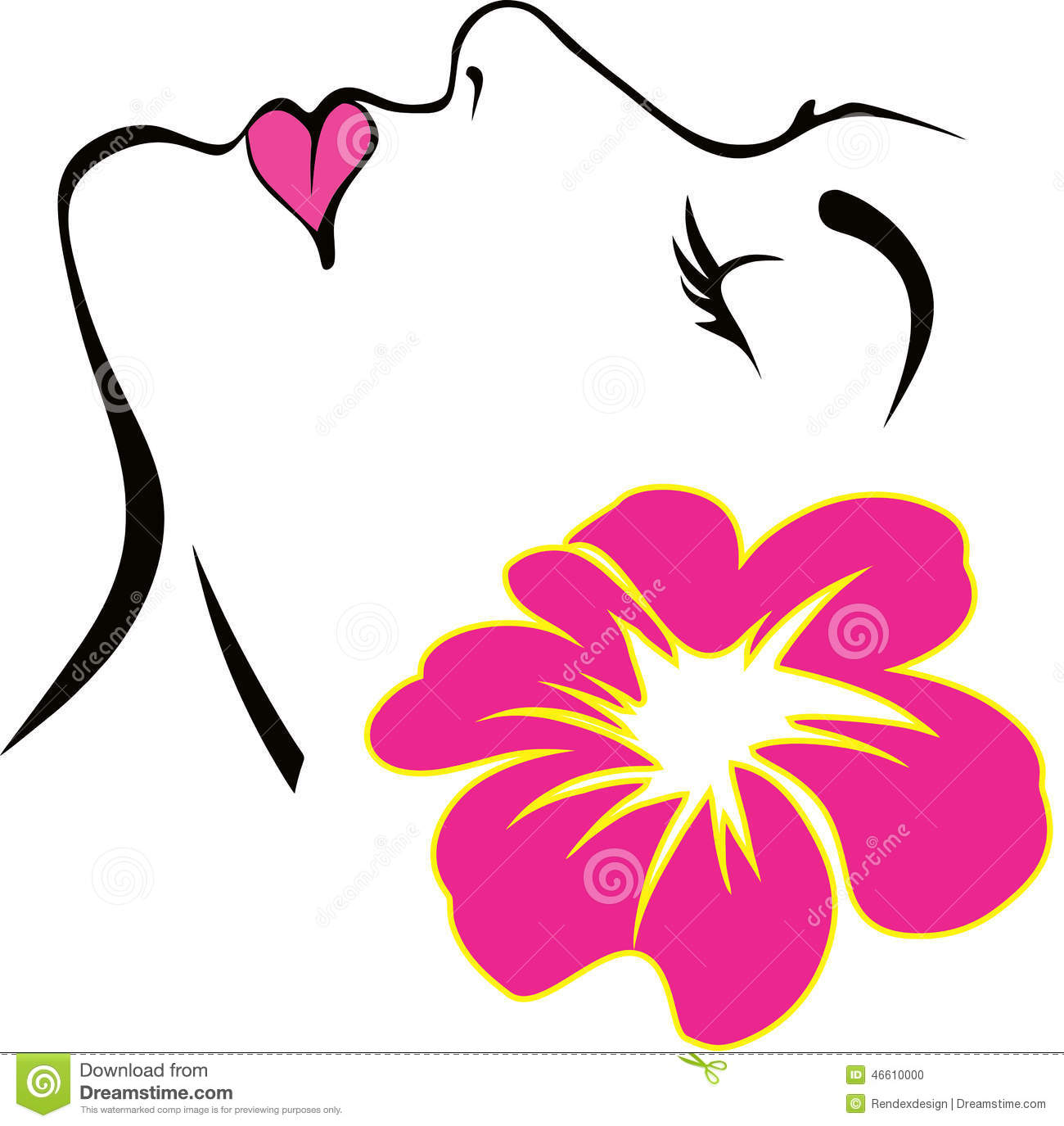 Woman Face With Pink Flower Vector Stock Vector - Image: 46610000