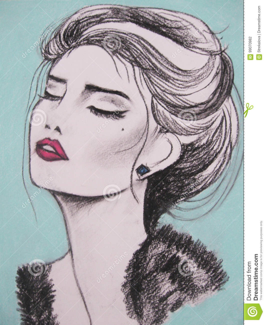 Woman face portrait abstract watercolor fashion drawing of a beautiful woman