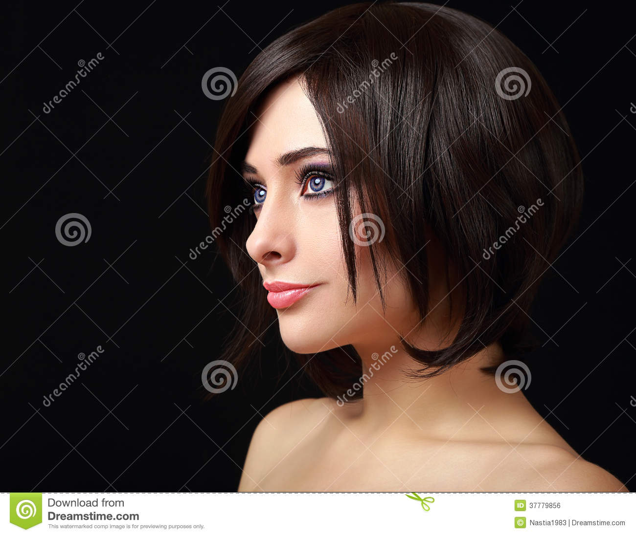 c618417cf88 Woman Face Profile With Short Black Stock Photo - Image of lips ...