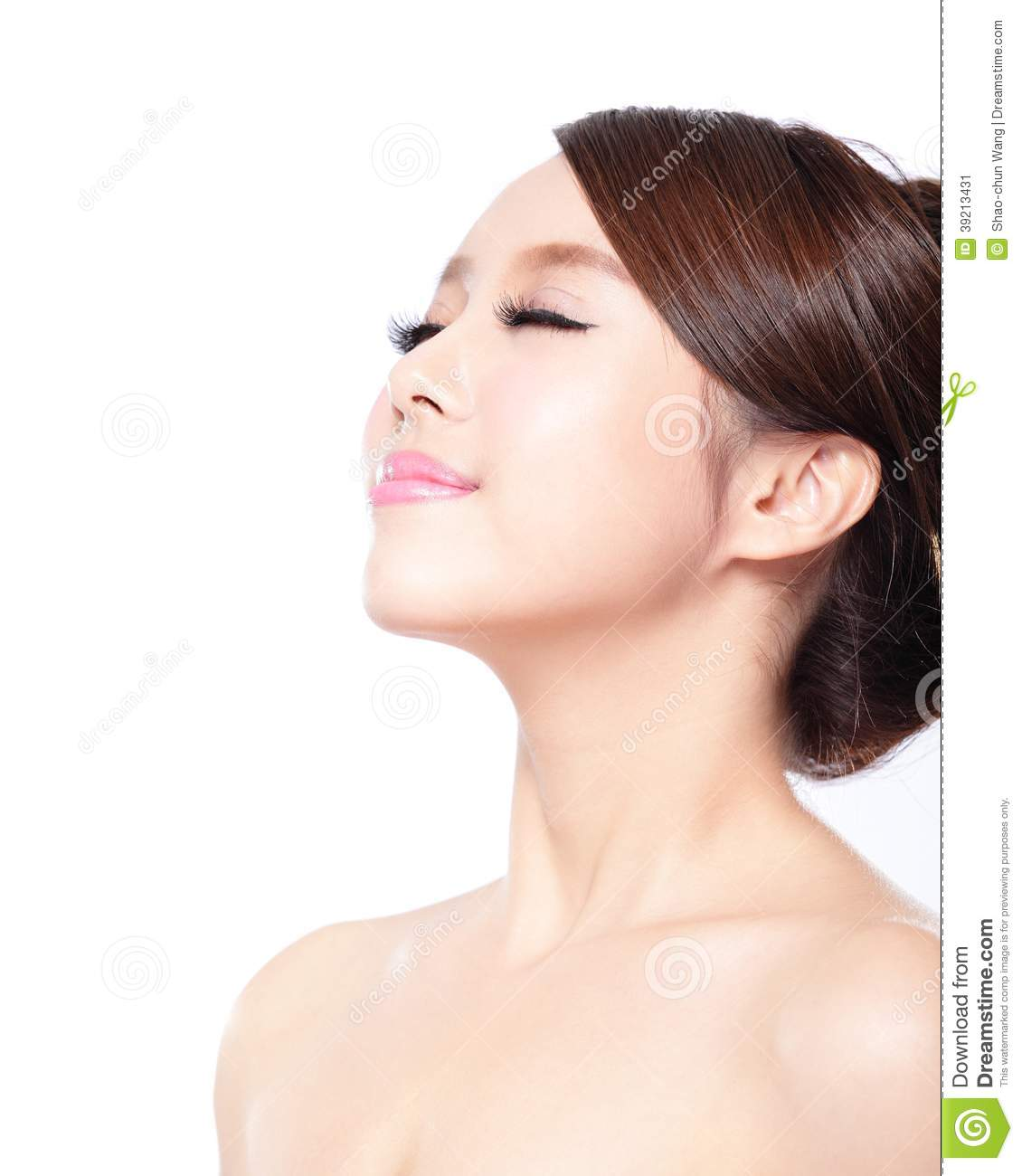 Woman Face Relax Closed Eyes Stock Image