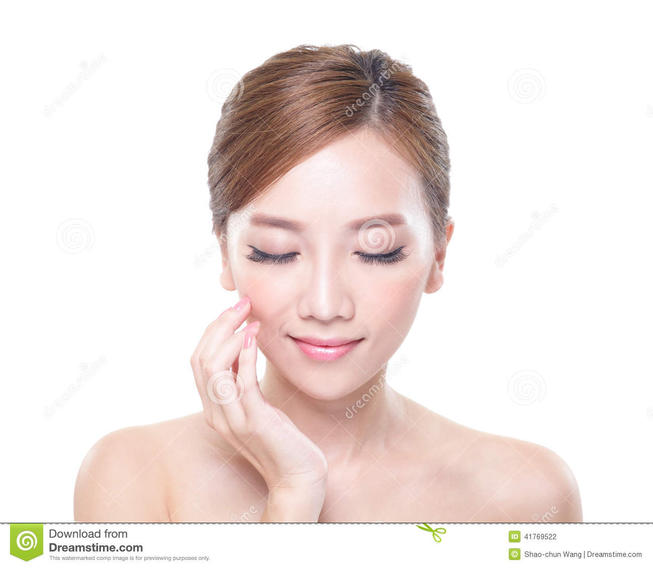 Woman Face Relax Closed Eyes Stock Photo