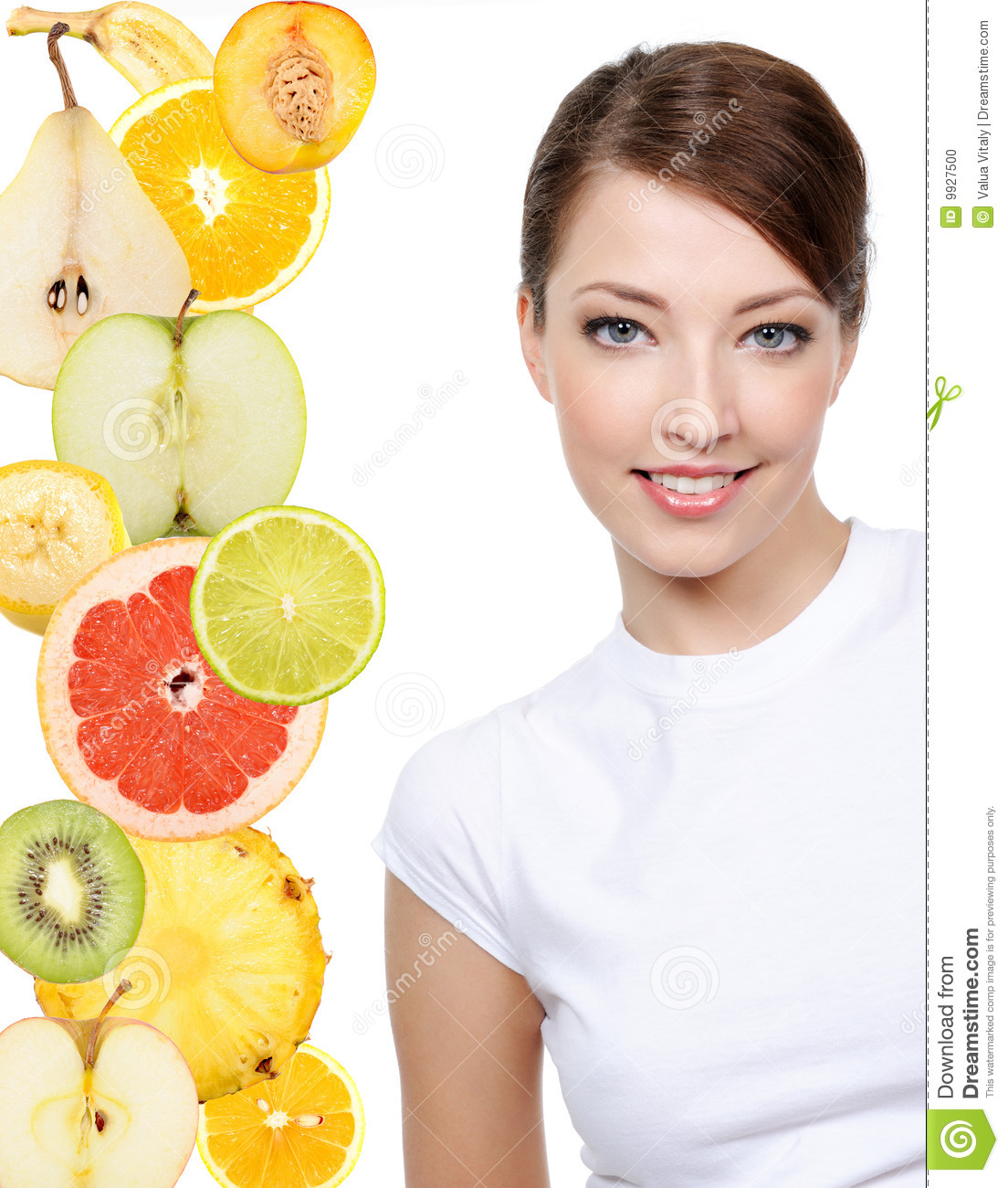 Woman face with slices of citrus fruits