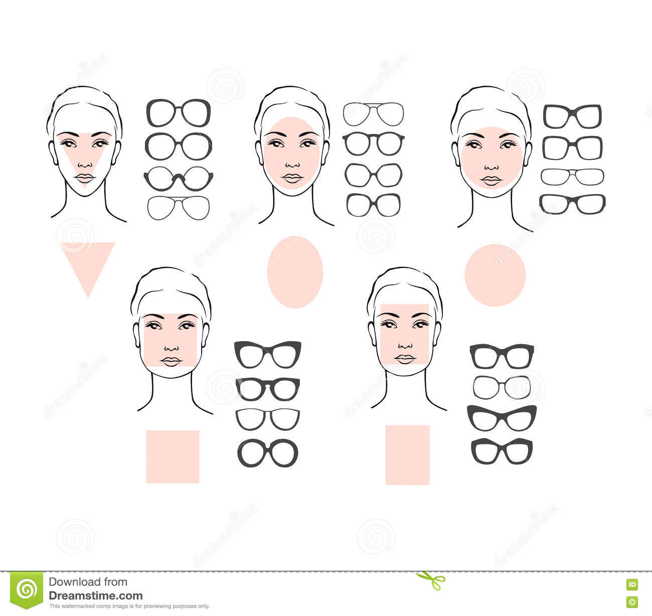 c646f5ed96 Woman face types and sunglasses. Beauty vector illustration of sunglasses  for different faces. Five