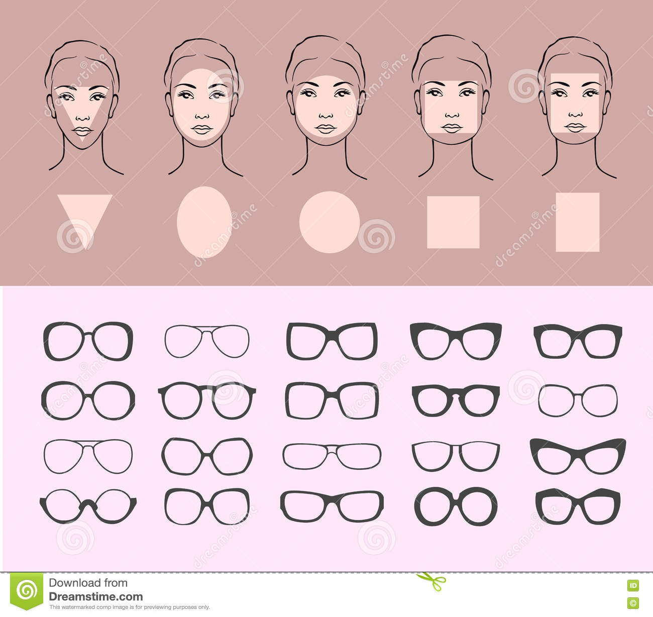 woman face shape types cartoon vector. Black Bedroom Furniture Sets. Home Design Ideas