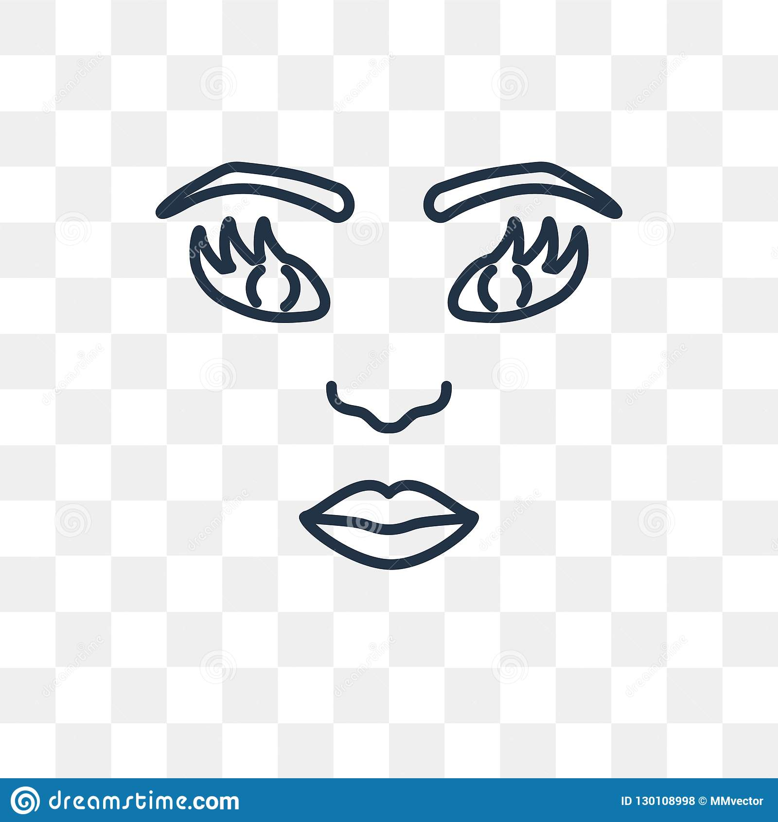 Woman Face Vector Icon Isolated On Transparent Background, Linea