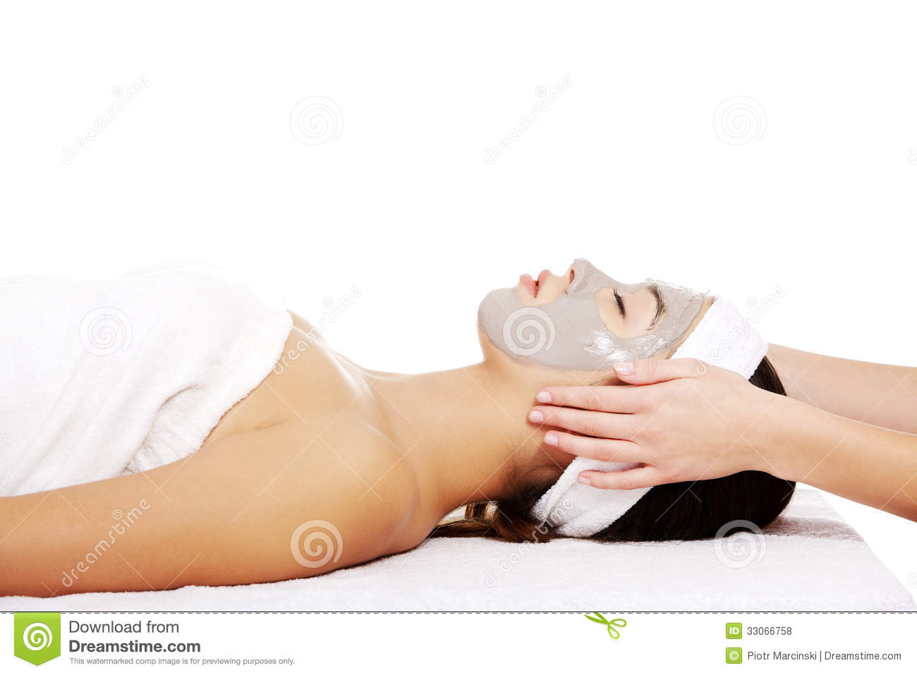 Woman with facial clay mask royalty free stock photos for A trial beauty treatment salon
