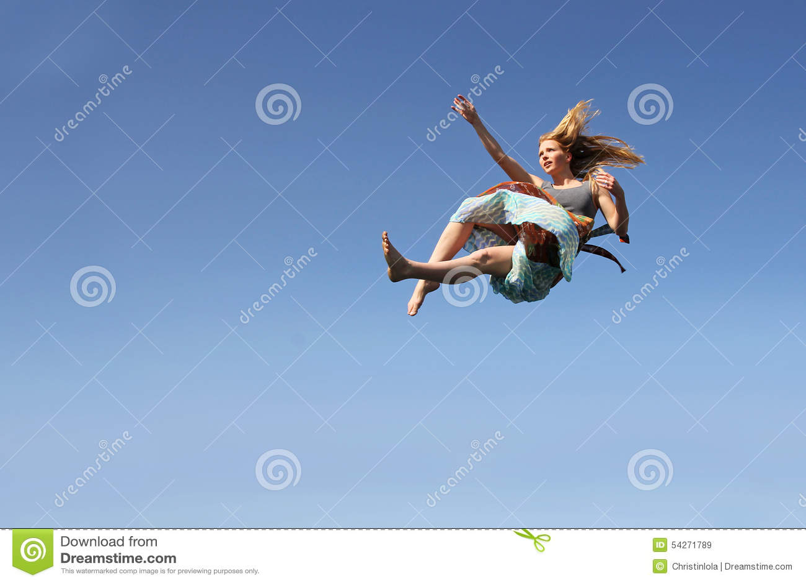 Woman Falling Through The Sky Stock Photo - Image: 54271789