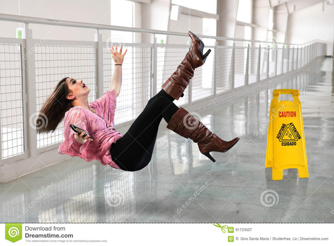 woman falling on wet floor stock image image of hallway 91723507