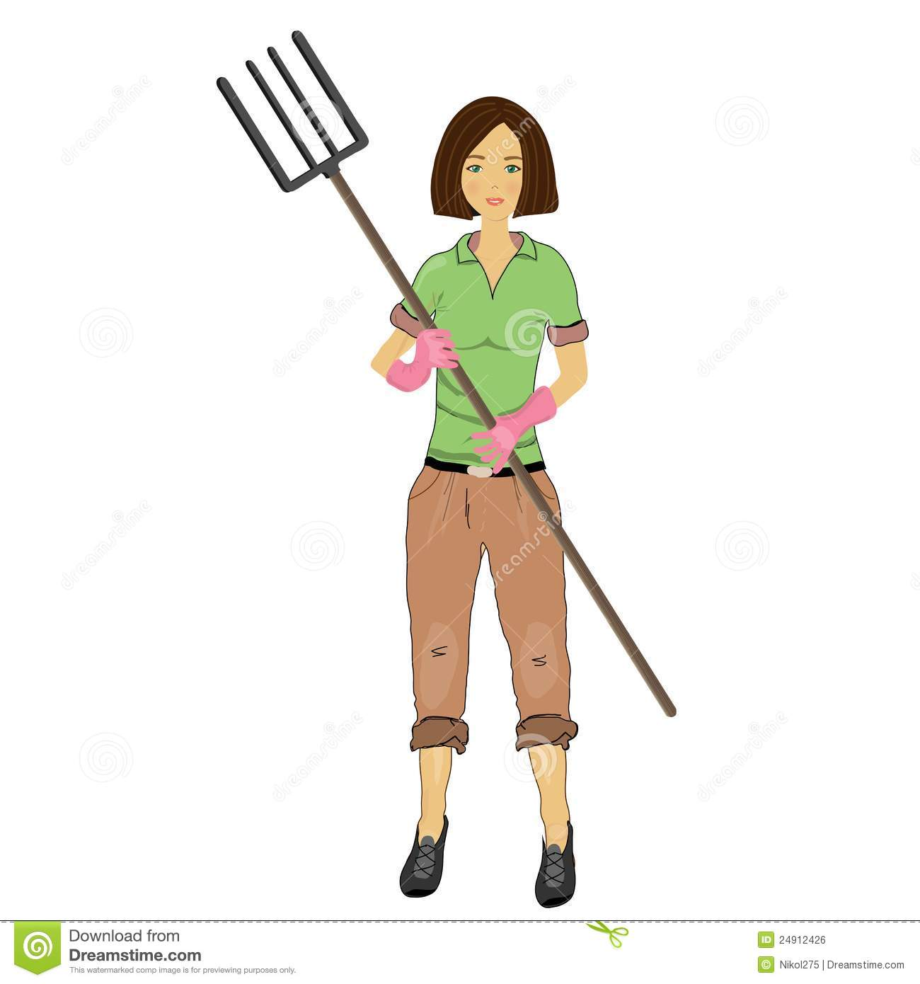 woman farmer with a pitchfork in his hand stock vector pitchfork clipart free asu pitchfork clipart