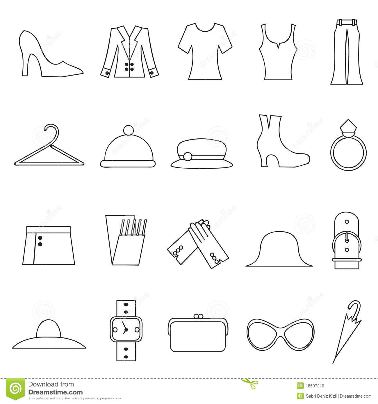 Woman Fashion And Clothes Icons Stock Vector Illustration 18597310